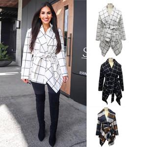 Brasão Overcoat de lã com cinto a nova listagem Mulheres Roupa Moda Outono e casacos de inverno para as mulheres Cinge