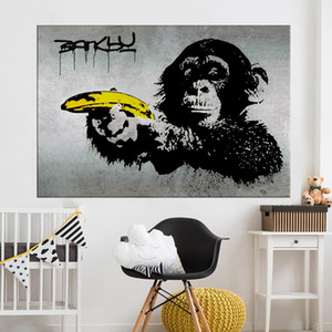 Canvas Art Banksy Graffiti Painting Chimpanzee Holding A Banana Wall Pictures For Living Room Home Decor Printed