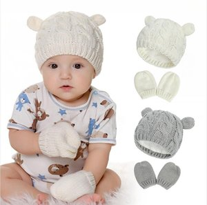 Baby Knited Hat Gloves Set Outdoor Winter Warm Beanie Solid Warm Cute Ear Shape Knitting Soild Color Cap Gloves For 0-3 Years Kid LJJP736
