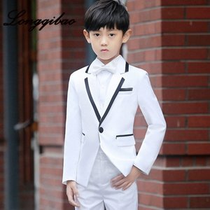 High quality children's suit fashion British style dress set T stage catwalk piano performance dress boy small suit 5 piece set qAEx#