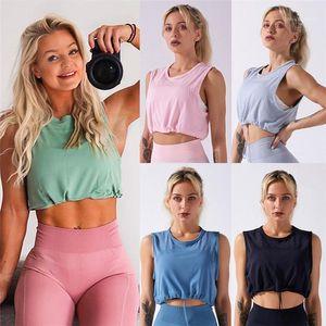 Womens Solid Color Slim Sports Top Sports Top Mutil Color confortevole Donne traspiranti yoga fitness camis Spazi di yoga senza soluzione di continuità