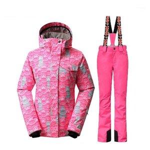 Gsou Snow Women лыжные костюмы зимние сноубординг куртки и брюки ветрозащитные водонепроницаемые красочные самки на открытом воздухе лыжные наборы1