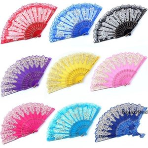 Square Dance Folding Fans Rose Lace Kungfu Hand Fan Plastic Wedding Favors For Guest Gifts Arts And Crafts 3rq ff