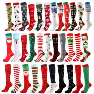 Natale adulti calzini lunghi calzini di compressione cartoon pupazzo di neve a strisce donne uomini moda xams calking casual sport inverno panno casa E101601