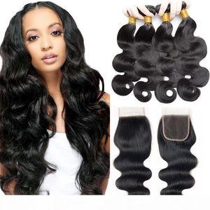 4 Body Wave Human Hair Bundles with Closure Unprocessed 7a Virgin Human Hair Bundles Natural Black Wet and Wavy Human Hair