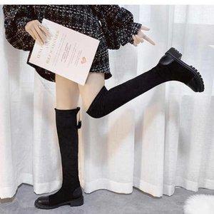 Ytmtloy 2020 venta caliente invierno otoño e invierno gamuza de gamuza de gamuza de alto tubo moda botas cuadradas de moda negro