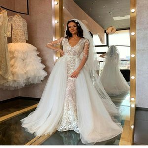 Elegant Mermaid Wedding Dresses With Detachable Train V-neck Long Sleeve Bridal Gowns Full Appliqued Lace Sweep Train Vestidos De Novia