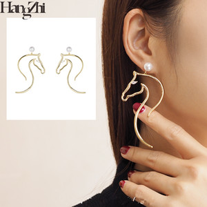 HANGZHI New Design texture Horse Head Imitation Pearls Metal Line Fashion Long Drop Earrings For Women Girl Party Travel Jewelry