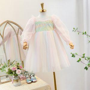 Cute Girl Lace Gauze Princess Dress New 2021 Kids Puff Sleeve Party Dress Spring Children Stereo Rose Rainbow Tulle Tutu Dress 446