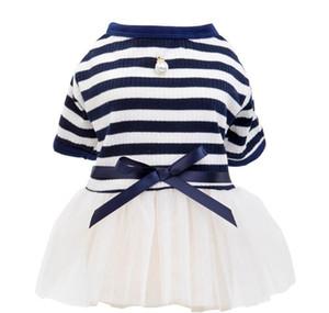 Pet Dog Stripes Pearls Gauze Tutu Dress Skirt Puppy Cat Princess Dress Clothes Cotton Short Sle bbyMny packing2010