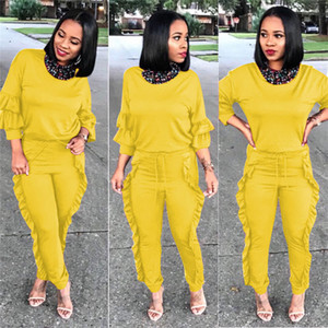 2021 Color Pencil Pants Crew Neck Tops Womens 2 Piece Outfits Spring Womens Two Piece Pants Solid S-3XL