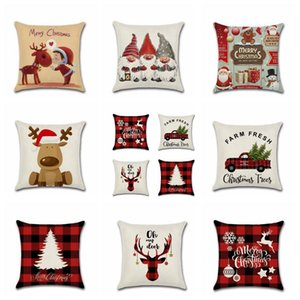 Pillowcase Christmas Santa Claus Elk Pillow Case Christmas Cartoon Print Pillow Case Sofa House Simple Christmas Decoration BWC3020