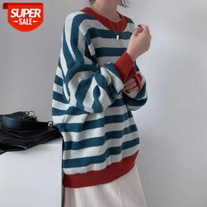 Donne vintage maglione lanterna manica unif maglione invernale merci jumper a strisce oversize bf maglieria uomo coppia pullover # AI7P