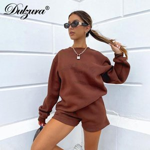 Lettre de Dulzura Imprimer Femmes 2 pièces Sweat à manches longues Sweatshirt SweatShirts en vrac Casual Tracksuit Loungewear 2021 Automne hiver