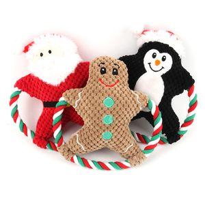 3 Arten Pet Plüsch Spielzeug Gesang Hund Cartoon Baumwolle Seil Weihnachtsspielzeug Weihnachtswelpen Molar Biss Puppe Haustiere Weihnachtsgeschenke