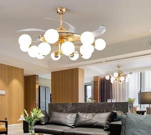 42 inç Modern Görünmez Fan Akrilik Yaprak Led Tavan Hayranları 36W Güç Kablosuz uzaktan kumanda tavan fanı ışığı yanar