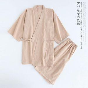 Мужские спящие одежды Японский 100% хлопок Кимоно Халат Летние короткие рукава шорты домашнего обслуживания Большой размер тонкий пот на пару мортина