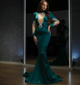 Fashion Beaded Mermaid Evening Dresses High Neck Long Sleeves Backless Prom Gowns Sweep Train Satin Custom Made Sequined Formal Dress