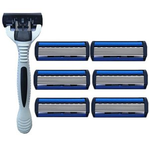 6 Layers Razor 1 Razor Holder + 7 Blades Replacement Shaver Head Cassette Shaving Set Blue Face Knife For Man