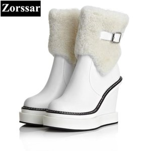 {Zorssar} 2020 NEW winter plush Women Boots Genuine Leather High heels platform wedges ankle snow Boots fashion womens shoes
