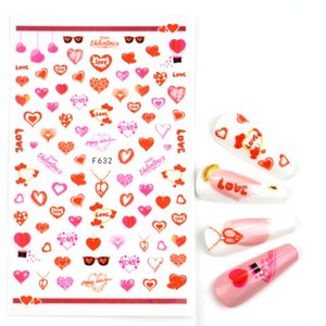 Valentines Manicure Love Letter Flower Sliders for Nails Back Glue Nail Art Decoration Water Sticker Tips