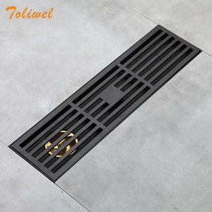 Bathroom Grille Shower Drain Floor Drain Trap Waste Grate Grid Strainer Black T200715