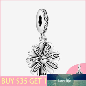 New Arrival 925 Sterling Silver Beads Sparkling Daisy Flower Dangle Charms Fit Original Pan's Bracelets Women DIY Jewelry