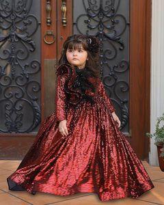 Burgundy Sparkly Flower Girl Dresses Sequined Long Sleeves Little Girl Wedding Dresses Cheap Communion Pageant Dresses Gowns V26