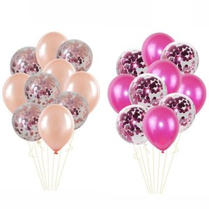 10pcs Mix Rose Gold Confetti Latex Balloons High Quality Latex Party Balloons for Baby Shower Bridal Shower Wedding Decorations