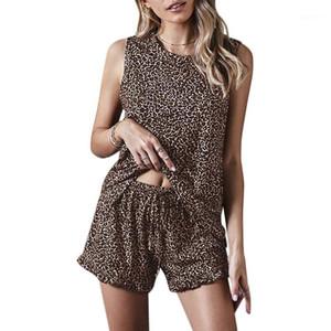 Pajamas for Women Summer Sleepwear Tie-Dye Print Pyjamas Set Tank Top Drawstring Shorts Nightwear Leopard Print XXL1