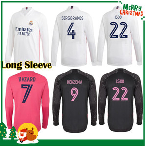 Длинный рукав 20 21 Реальный Мадрид Футбол Джерси Бензема VINI JR Модрик Asensio Sergio Ramos Heansard 2020 2021 Спортивная футбольная футболка