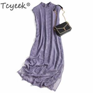 Tcyeek Vintage seta reale estate vestito delle donne dei vestiti 2020 elegante ricamo floreale donna abiti lunghi Boho del partito Vestidos A0220