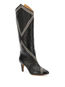Women Shoes Paris Lahia Eyelet Embellished Calf-height Boots Black Genuine Leather