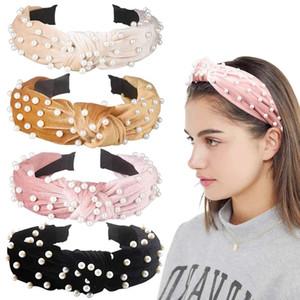 Velvet Pearl Bow Headband Fashion Vintage Breve Spugna Head Hoop Wide Hairbands Knot Turban Party Gioielli Accessori per capelli HHA1653