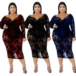 Women deep-v neck midi dresses XL-6XL plus size sexy & club lace elegant fall summer clothing sheath column party evening dress stylish 2547