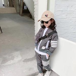 N Высокое качество двойной слой высокой плотности полиэфирной ткани детские серый stormsuit с капюшоном карман мальчиков и девочек носить k8234 открытый каждый день