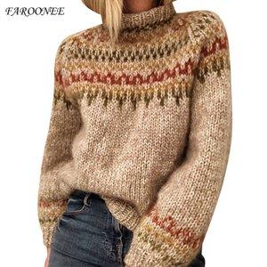 Faroonee donne di stile etnico Nuovo Patchwork dolcevita a maniche lunghe in maglia di moda casual piuttosto Maglione Q1115
