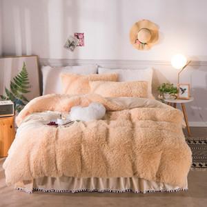 Sólido de lujo en color felpa lanudo lecho caliente suave tamaño Twin Queen Rey duvet cover set Pompoms Volantes bedskirt fundas de almohada 1012