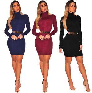Automne Hiver Femmes Designer Mini Robe ample de couleur unie imprimé à col roulé Robe en maille Pull Mode Femme Vêtements