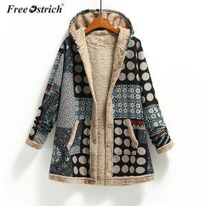 Free Ostrich Womens Print Coat Winter Warm Vintage Pockets Oversize Hooded Coats Female Outwear Fleece Jacket Plus Size N30