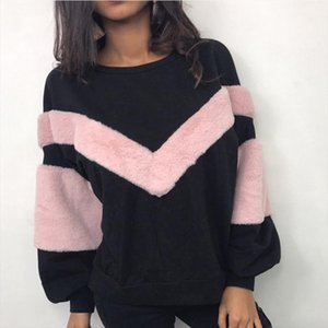 Woman Clothes New Warm Women Plush Sweatshirt Stitching Long Sleeve Patchwork Pullover Tops Sweatshirt Jumper Drop Shipping