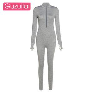 Guzuilai осень и зима новая женская мода стойкий воротник сексуальный жесткий фиксирующий высокий талию спортивный комбинезон 201119