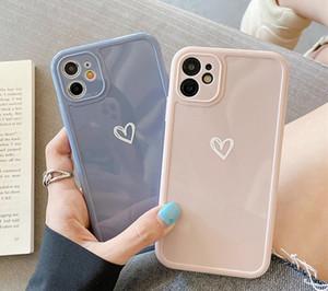 iPhone 12 Proteção Camera coração amor telefone Capa Para Mini 11 Pro SE2 7 8 Plus XR XS Cor Max Candy Glossy macio TPU