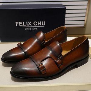 Felix Chu Männer Kleid Schuhe Handgemalte Echtes Leder Doppel Mönch Strap Müßiggänger Slip-on Männer Schuhe für formale Hochzeit