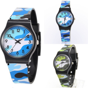 wQcT6 Rubber braclet Mens Mechanical Camouflage Automatic Movement Stainless plastic strap Children watch Steel Watch James Bond Watches
