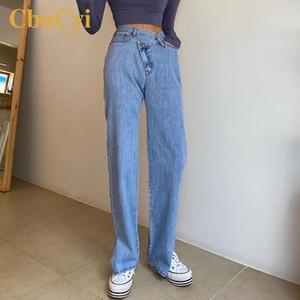 Donna Jeans Split Vaqueros Mujer vita alta pantaloni dritti pantaloni gamba Abbigliamento Jeans da donna in cotone denim donna Pantalon Femme