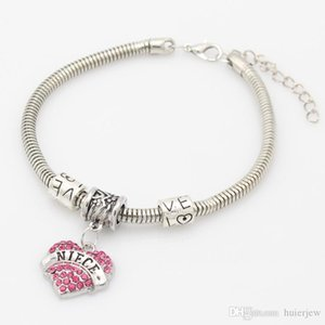 Charms Armbänder Personalisierte Initialen Mutter Großmutter-Silber-Stulpe-Armband-Kristall-Armband