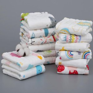 Baby Towels Cartoon Soft Infant Gauze Cotton Face Towel 6 Layers Feeding Bibs Long Square Towels Hanging Washcloths 11 Designs BT5989