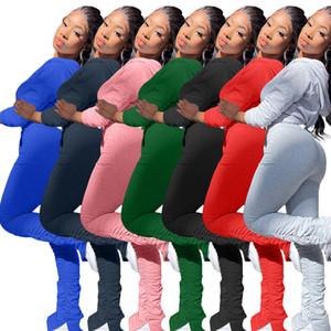 Traje de mujer Juego de 2 piezas Pliegues de moda Pantalón plisado Pantalón manga larga Capucha con capucha Cardigan Trajes Damas Casual Color Solid Sports Trajes 2020
