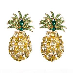 heap Drop Earrings KMVEXO Pineapple Crystal Drop Dangle Earrings for Women 2019 New Boho Summer Rhinestone Statement Earring Fashion Jewe...